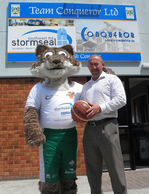 Stormseal SW MD Paul Murphy with Plymouth Raiders' Foxy
